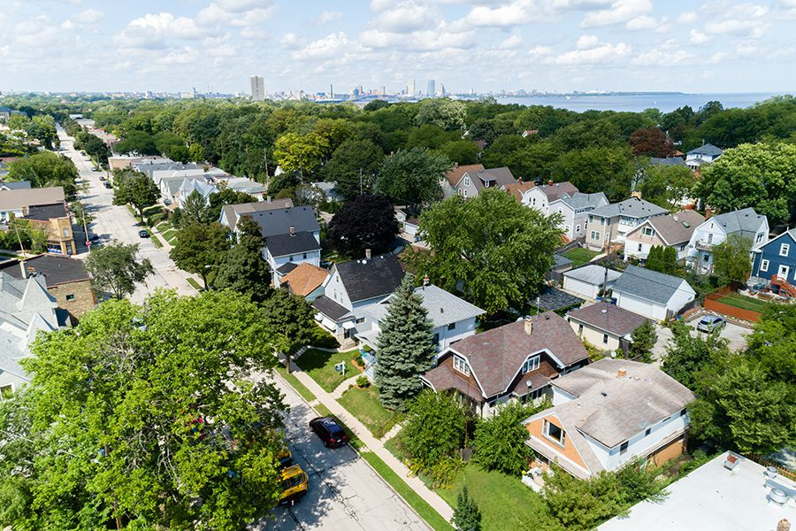 Contact - Aerial View of a Small Neighborhood in Wisconsin