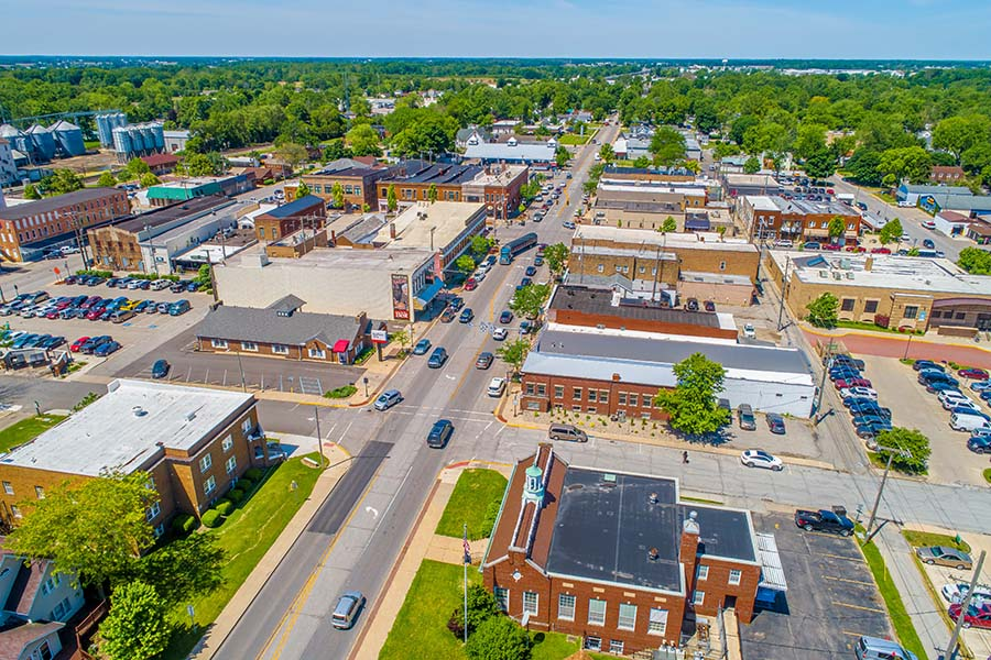Marion OH - Aerial View Of Downtown Marion Ohio On Sunny Day