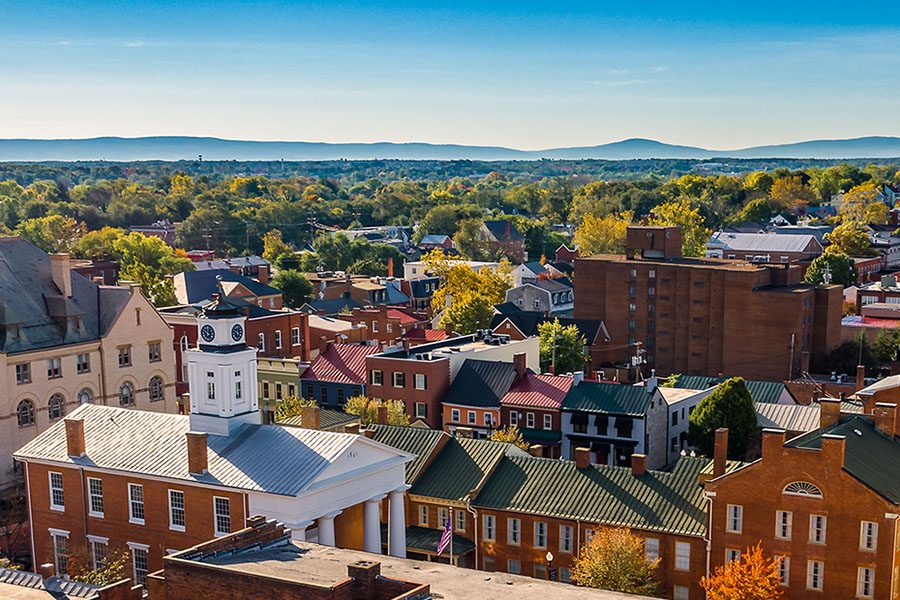 Winchester VA - Aerial View Of Downtown Winchester Virginia