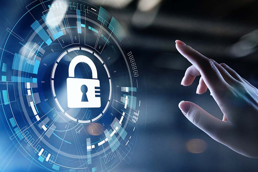 Live Webinar Personal Cyber Security - Cyber Security Concept Graphic with a Man Reaching out for a Lock on a Screen