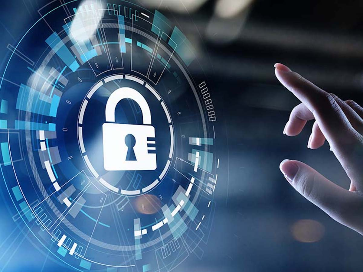 Live Webinar - Personal-Cyber-Security-Cyber-Security-Concept-Graphic-with-a-Man-Reaching-out-for-a-Lock-on-a-Screen