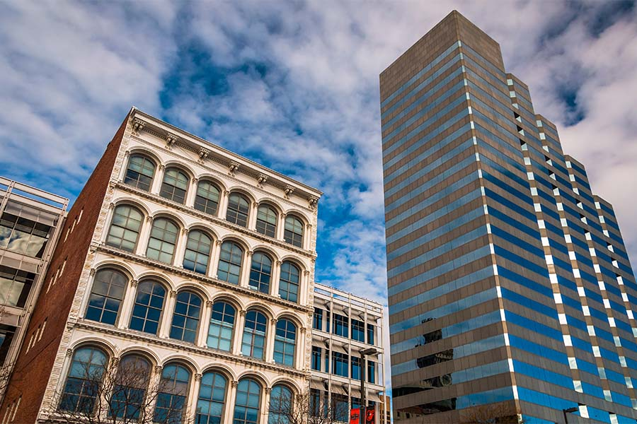 Business Insurance - View of Commercial Buildings in Downtown Baltimore Maryland