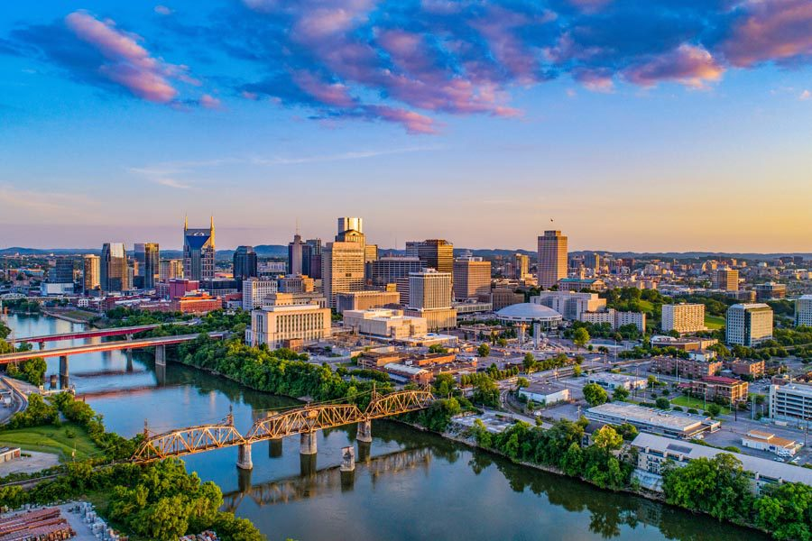 Contact Us - Nashville TN Insurance with a View of the Skyline at Sunset