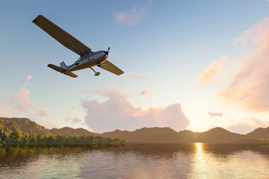 Aviation Insurance - Personal Plane Flying Over a Body of Water
