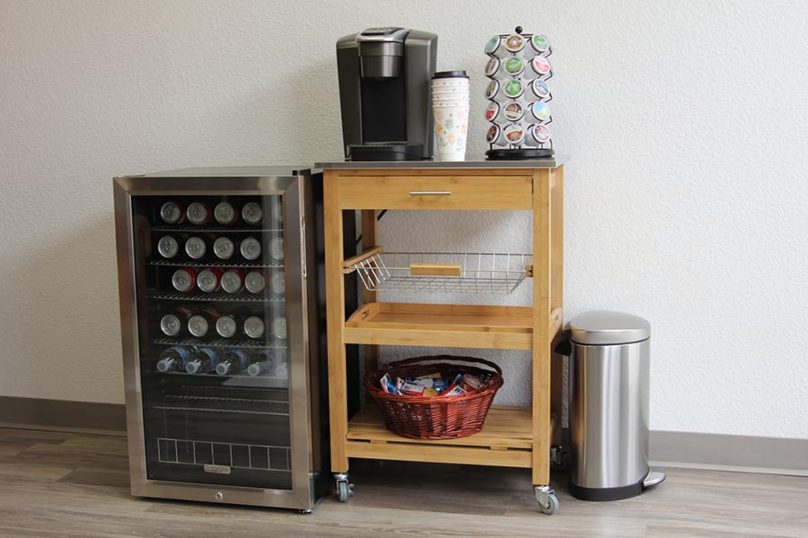 Office Tour - Coffee Area with Beverage Cart, Miniature Fridge, Soft Drinks, Coffee and Trash Can