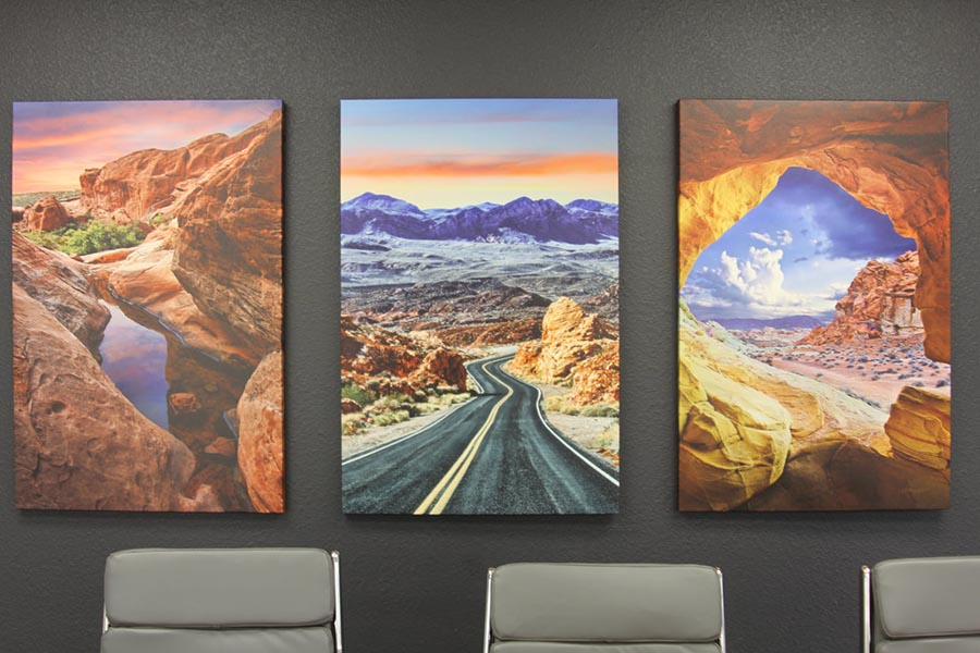 Office Tour - Conference Room Black Accent Wall and Southwest Artwork