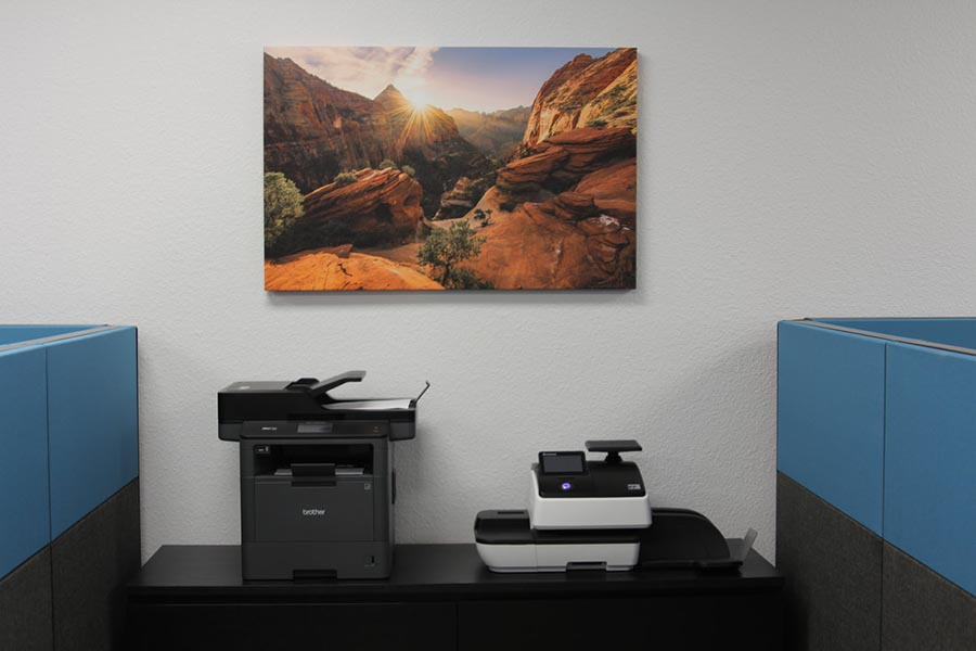 Office Tour - Copy Area with Copier, Fax Machine, and Southwest Artwork