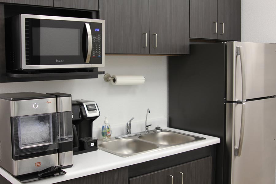 Office Tour - Kitchen Area with Microwave, Coffee Maker, Fridge and Ice Machine