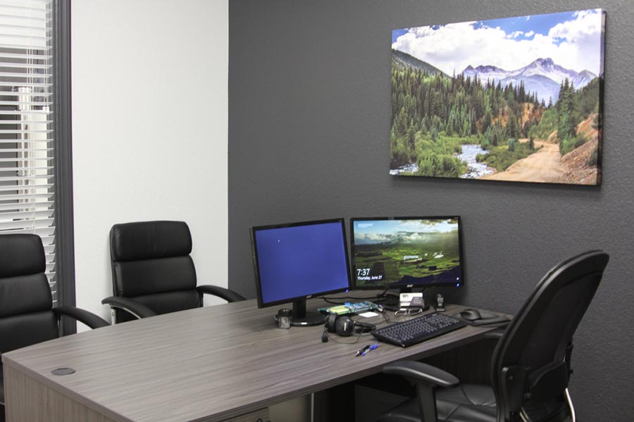 Office Tour - Office Interior with Desk, Chairs, Computer and Mountain Landscape Artwork
