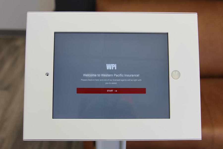 Office Tour - Welcome Kiosk with WPI Logo Prompting User to Check In