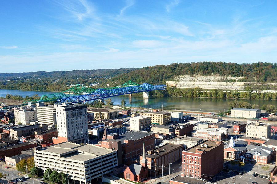 Ashland, KY - Aerial Landscape View of Ashland, KY Cityscape on a Sunny Day