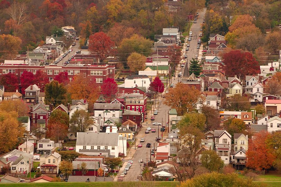 Contact - Small Kentucky Town Aerial View and Surrounding Community in the Fall