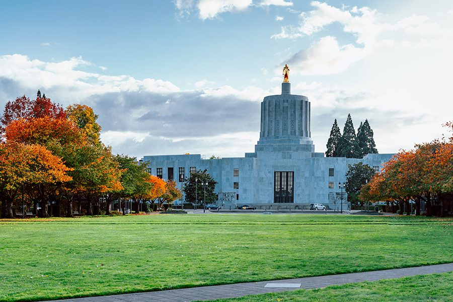 Contact - View of Oregon State Capitol in State Park in Autumn