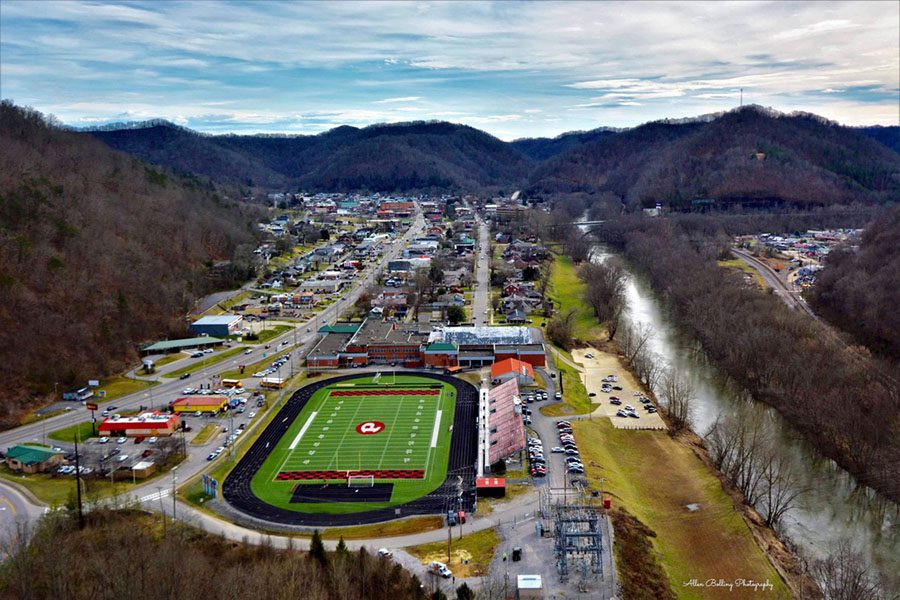 Prestonsburg, KY - Aerial View of Football Field and Surrounding Buildings in Downtown Prestonsburg Kentucky