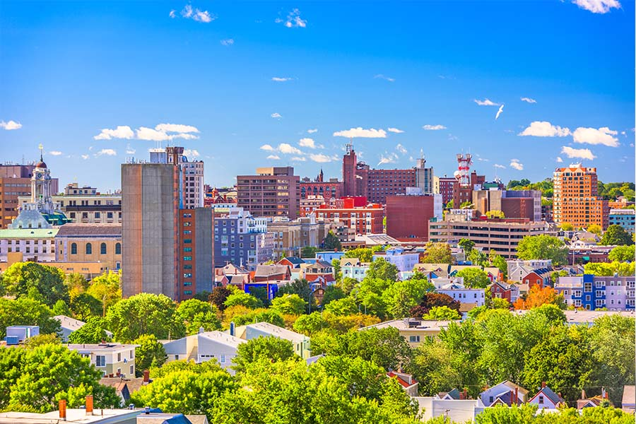 Commercial Insurance - Buidlings and City in Maine on a Beautiful Sunny Day