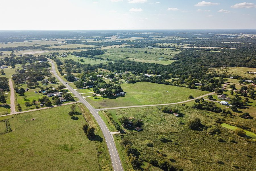 Universal City, TX - Aerial of Rural Texas Community on a Sunny Day in Summer