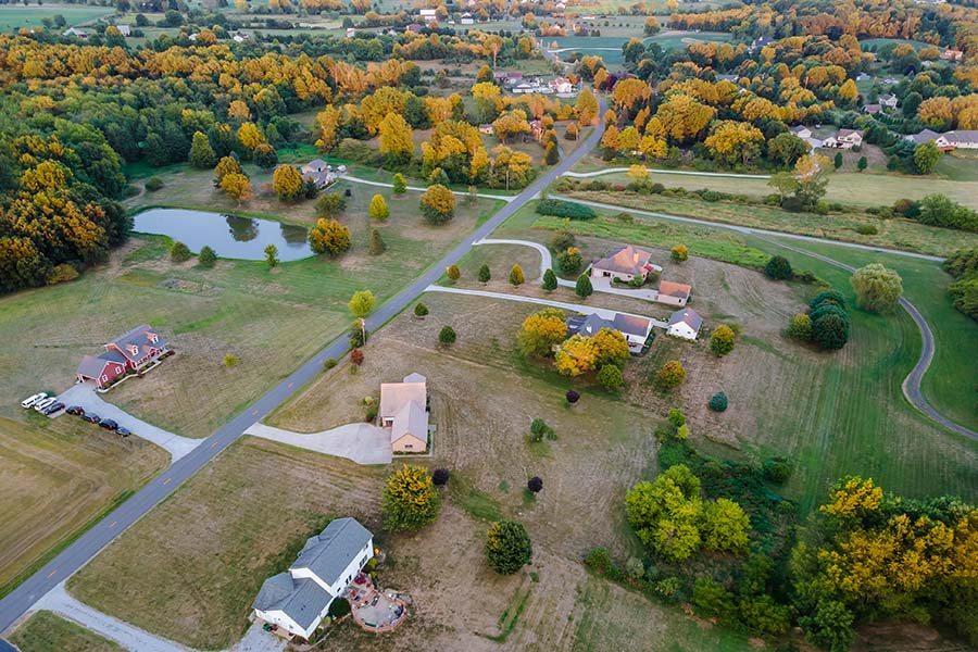 Jefferson County Ohio - Aerial View of Rural Farmland and Homes in Jefferson County Ohio