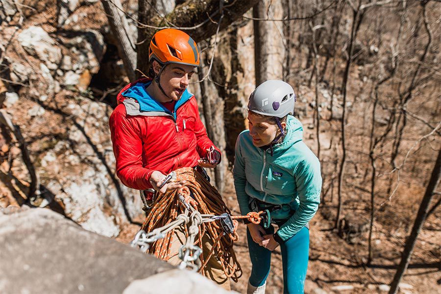 Blog - Gym to Crag Risk Management with Granite Insurance - Climbing Student Learning How To Guide From Instructor