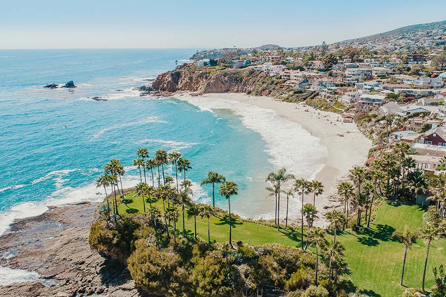 California Cannabis Insurance - Views of Palm Trees and Homes Along the Coast in California on Bright Sunny Day