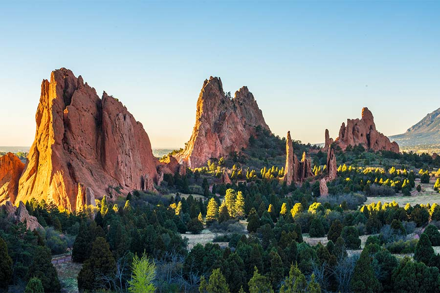 Colorado Cannabis Insurance - View of Sunrise over Sandstone Formations in Colorado Springs Colorado
