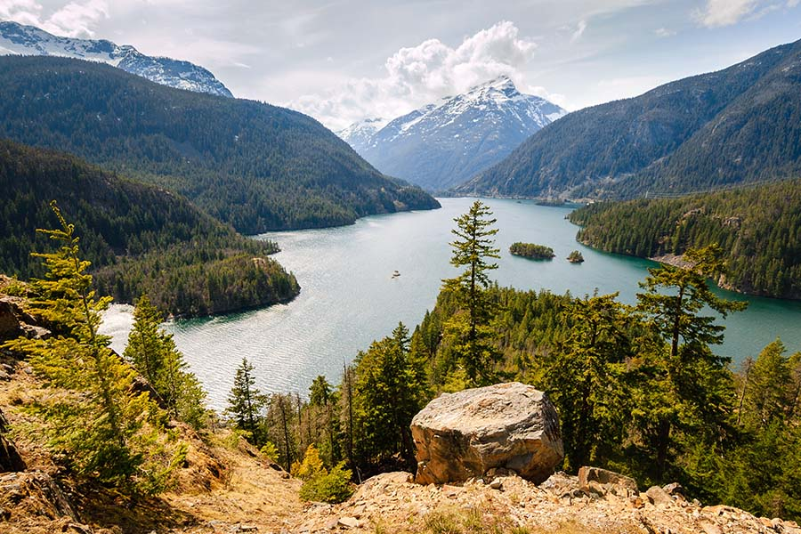 Lynwood WA - View of the Mountains Lake and Surrounding Forests from the Top of a Cliff in Washington State