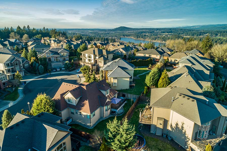 Resources - View of Residential Neighborhood with Luxury Homes at Sunset in Washington State