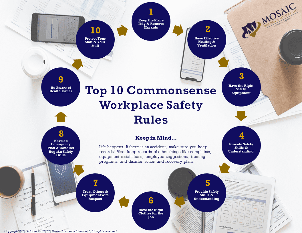 top 10 workplace safety rules infographic