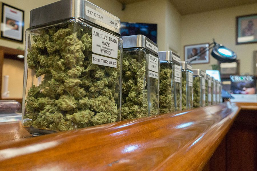 Cannabis Business Insurance - Row of Jars Filled with Cannabis Sitting on Display at a Local Distributor