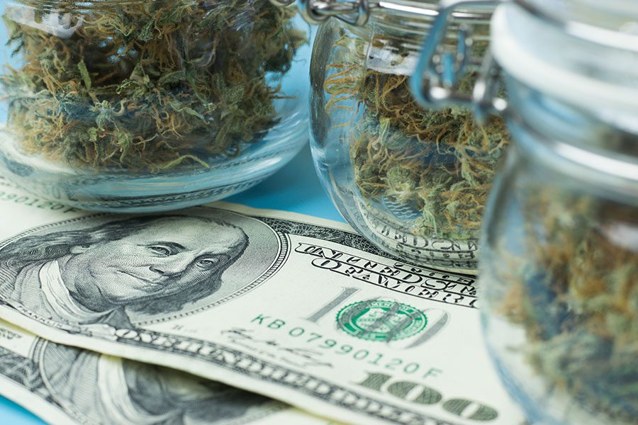 Cannabis Business Insurance Renewal - Closeup View of Jars with Dried Cannabis Sitting on Top of Hundred Dollar Bills