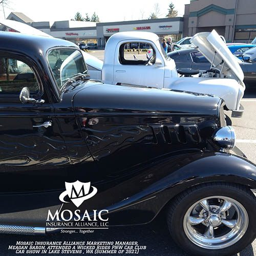 Blog - Classic Auto Insurance, Black Classic Car and White Classic Car with Hood Open in Lynnwood Washington with Mosaic Insurance Alliance