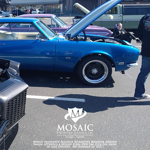Blog - Classic Auto Insurance, Blue Classic Car with Hood Up in Lynnwood Washington with Mosaic Insurance Alliance