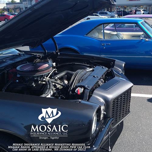 Blog - Classic Auto Insurance, Close Up of Black Classic Car with Hood Open in Lynnwood Washington with Mosaic Insurance Alliance