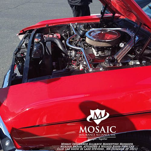 Blog - Classic Auto Insurance, Close Up of Red Classic Car Engine in Lynnwood Washington with Mosaic Insurance Alliance