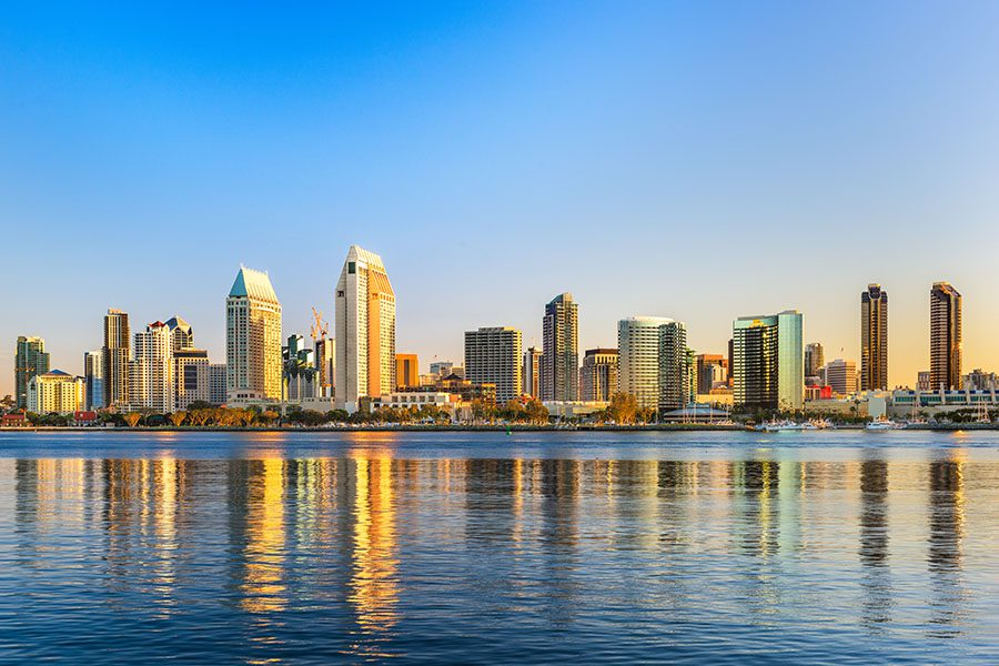 California - City Skyline View of San Diego California with Building Reflections in the River at Sunset