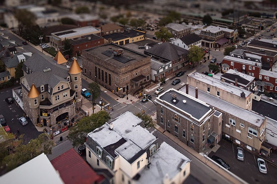 Ambler PA - Aerial View of Downtown Ambler Pennsylvania