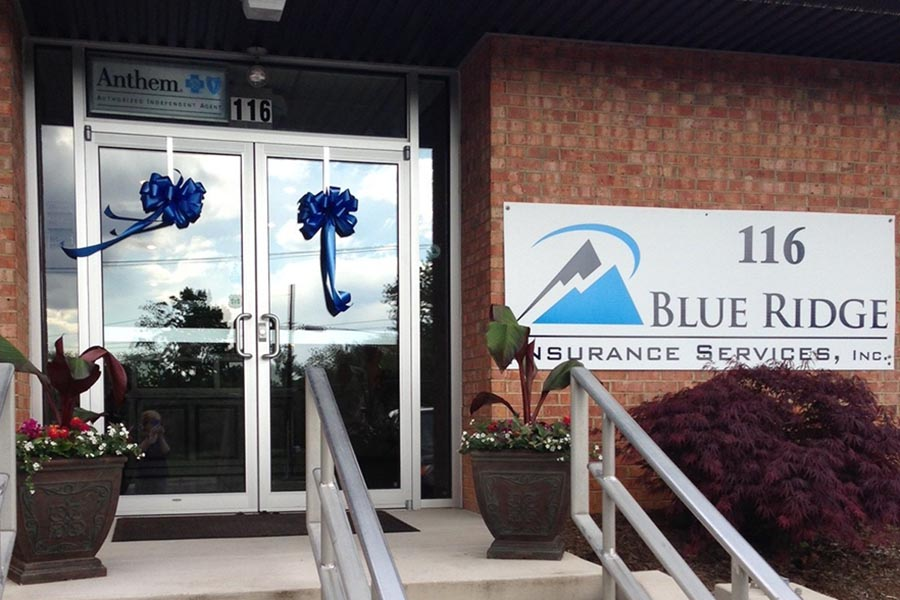 About Our Agency - Glass Front Doors of Blue Ridge Insurance Services in Harrisonburg, VA, Pots of Flowers on Steps Leading to Brick Building