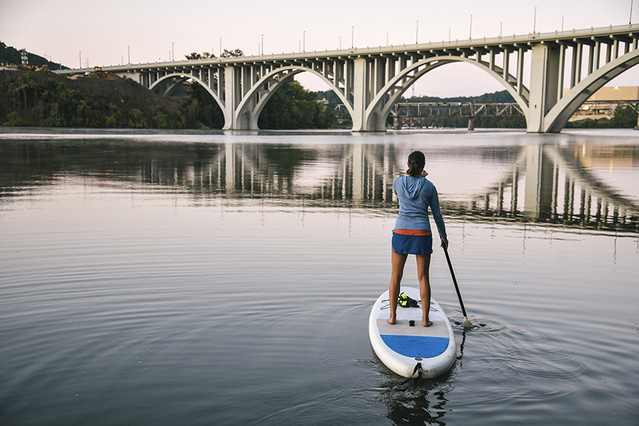 Knoxville, TN - Paddle Boarding on the Tennessee River in Knoxville, Tennessee at Dusk