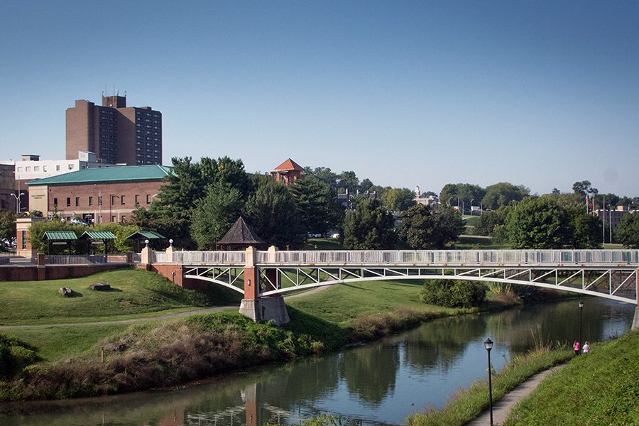 Maryville, TN - View of City Park Landscape and Small Bridge in Maryville, Tennessee on a Sunny Day
