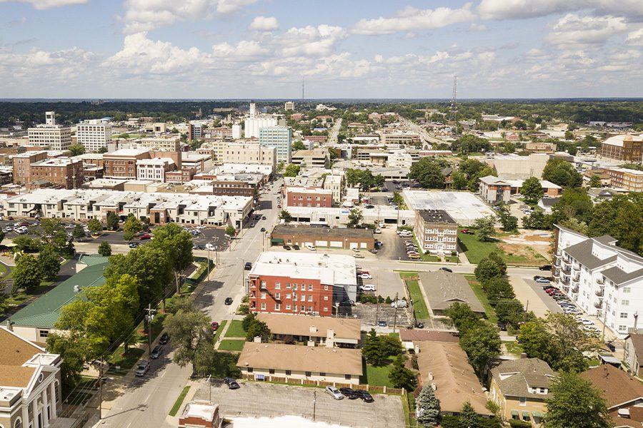 Missouri - Aerial View of Quaint and Charming Town in Missouri on a Sunny Day