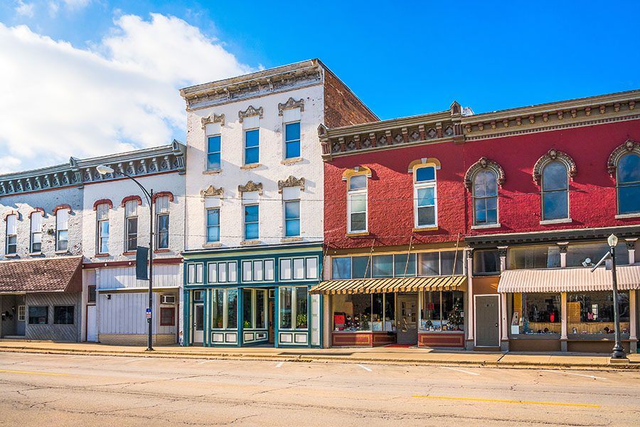 Business Insurance - Row of Small Businesses on Main Street in Small City