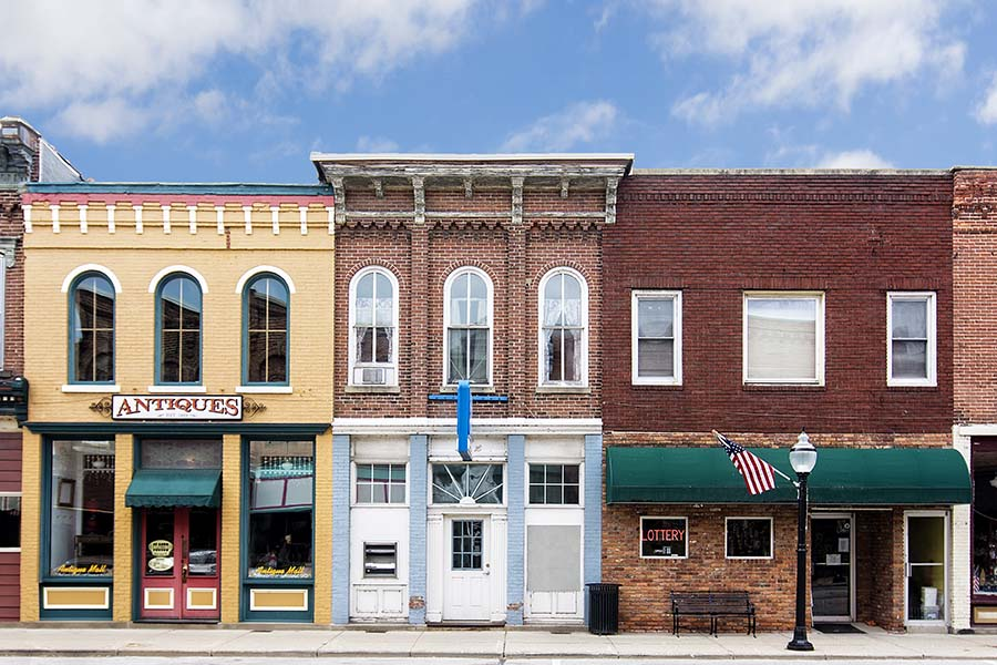 Harriston ON - Row of Commercial Buildings in Downtown Harriston Ontario