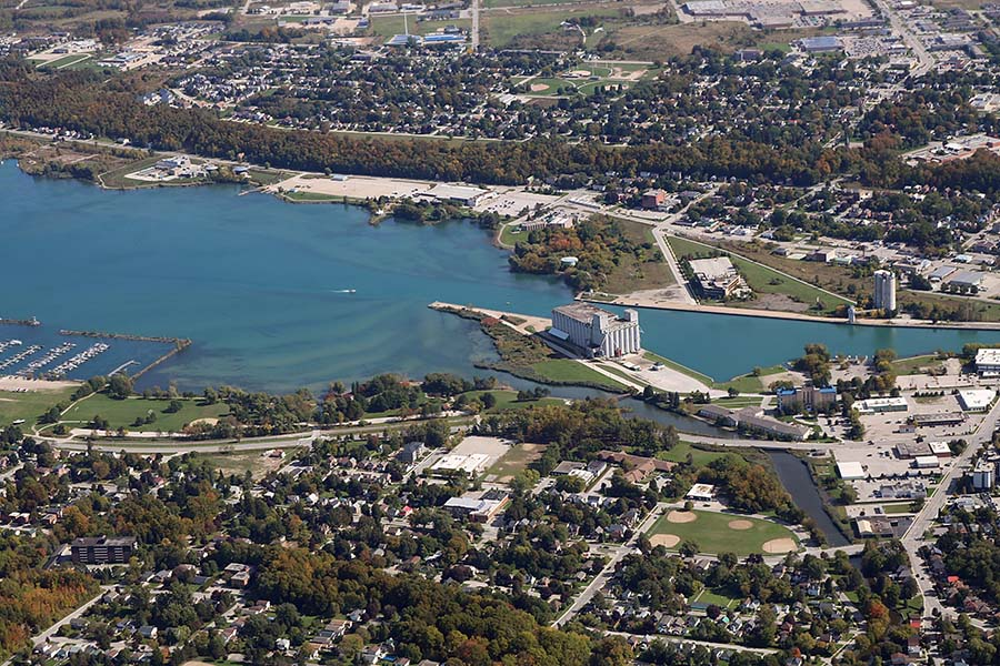 Owen Sound ON - Aerial View of Owen Sound in Ontario