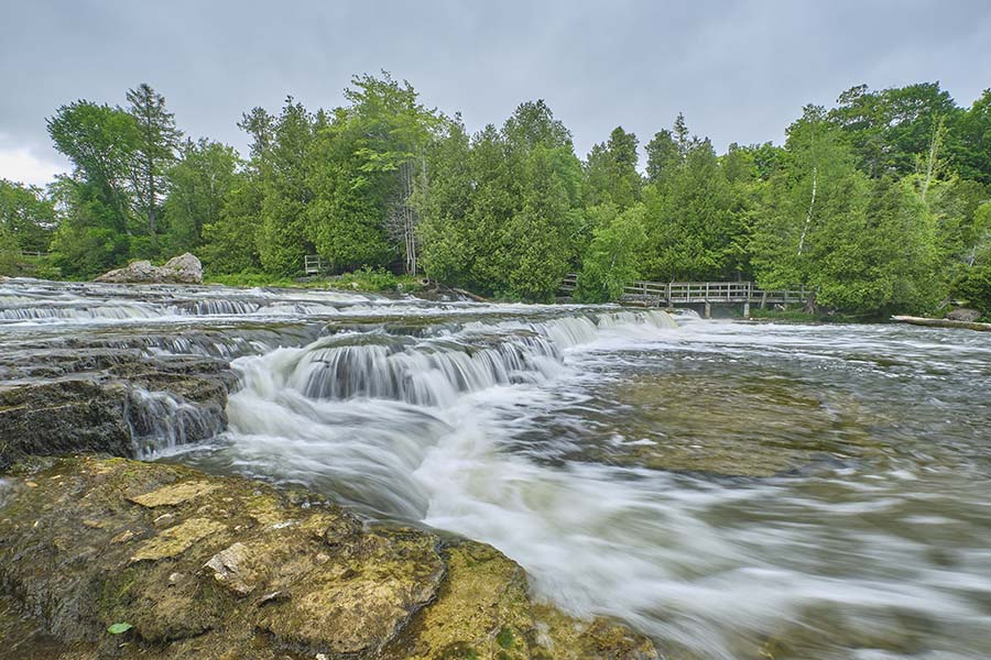 Teeswater ON - View of a Flowing River in Teeswater Ontario