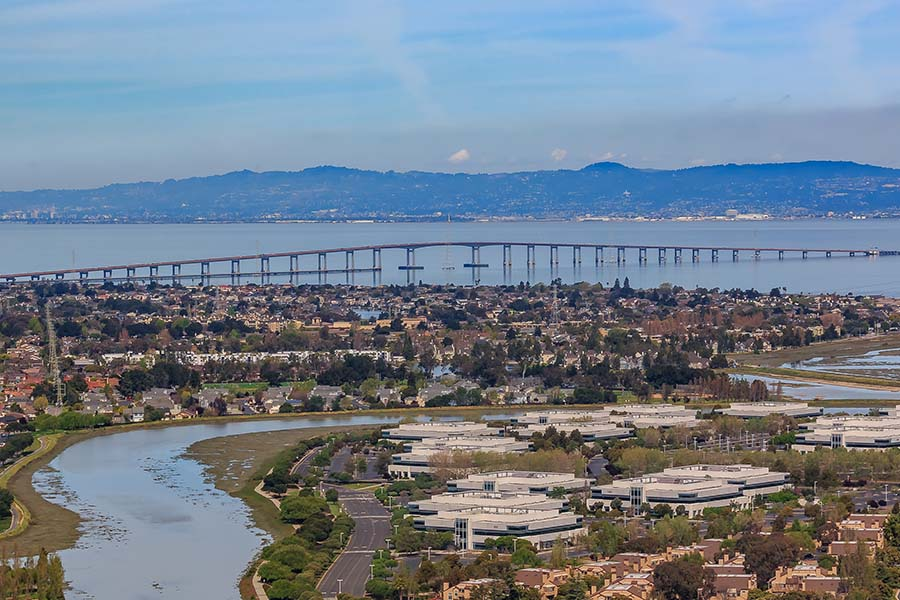 California - Aerial View of San Mateo California with Blue Sky and Views of Commercial and Residential Buildings