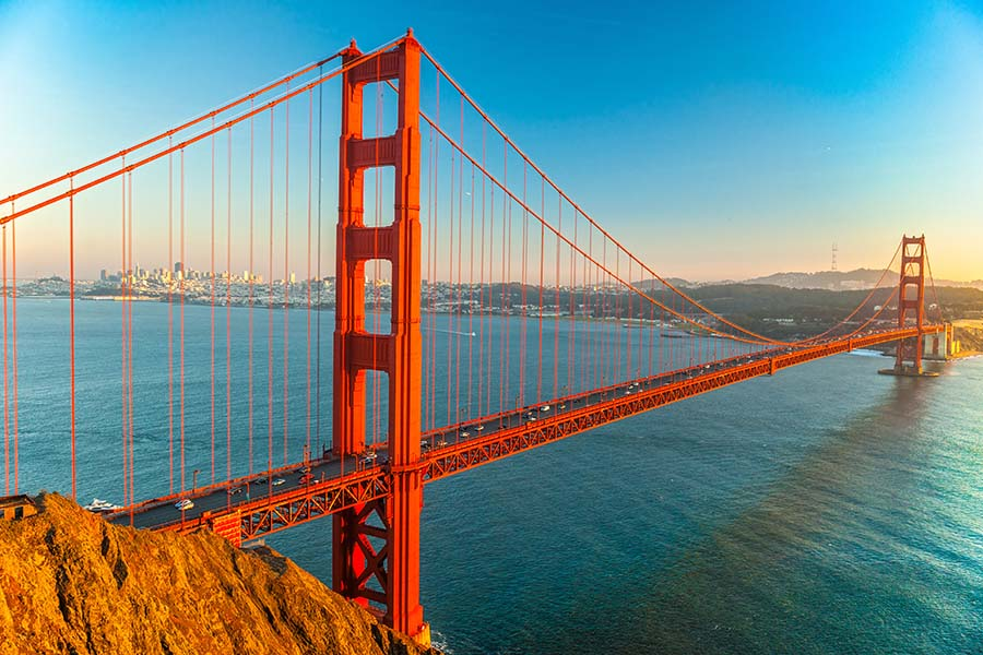Contact - View of the Golden Gate Bridge in San Francisco California at Sunset