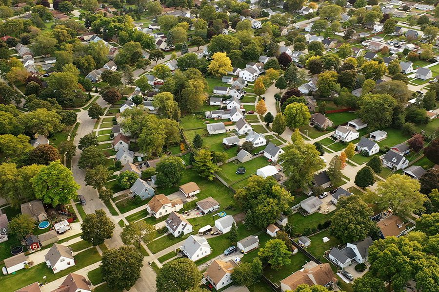Contact - Aerial View of Ohio Suburban Neighborhood at Summertime
