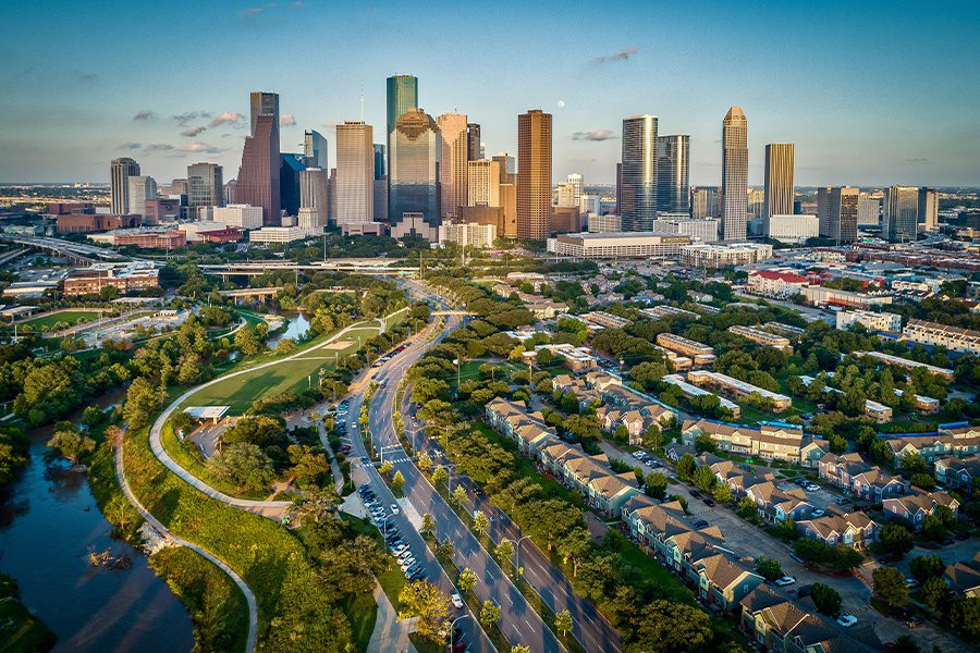 Texas - Aerial View of Houston, Texas Skyline At Sunset