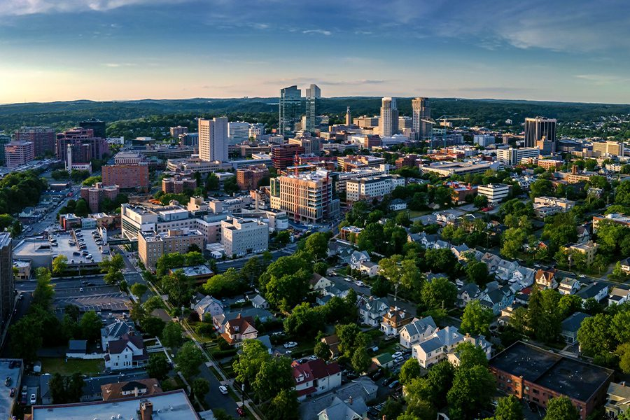 Contact - Aerial Landscape View of White Plains, New York on a Bright Sunny Day