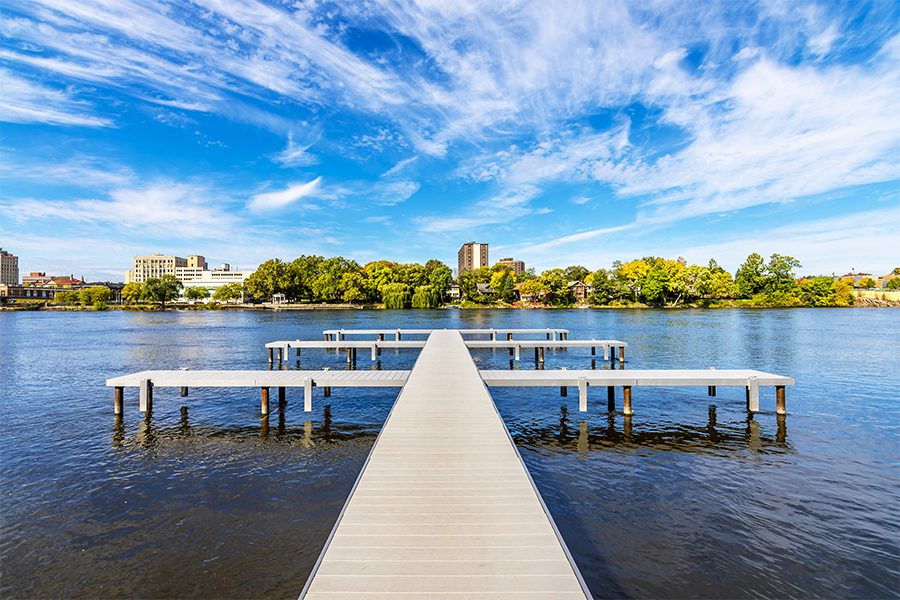 Contact - View of Rock River From Dock in Rockford, Illinois