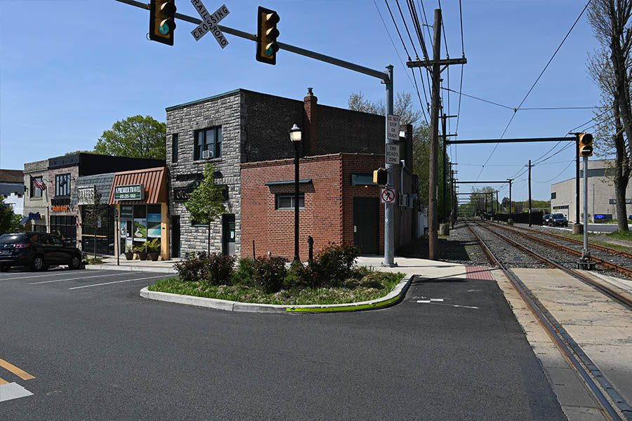 Specialized Business Insurance - Street View on Saxer Avenue in Springfield, PA with Train Tracks